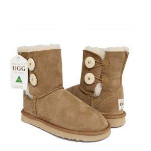 Button Tall Ugg Boots - Chestnut
