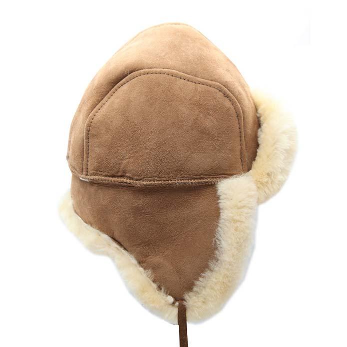 Sheepskin Hat With Tie - Chestnut
