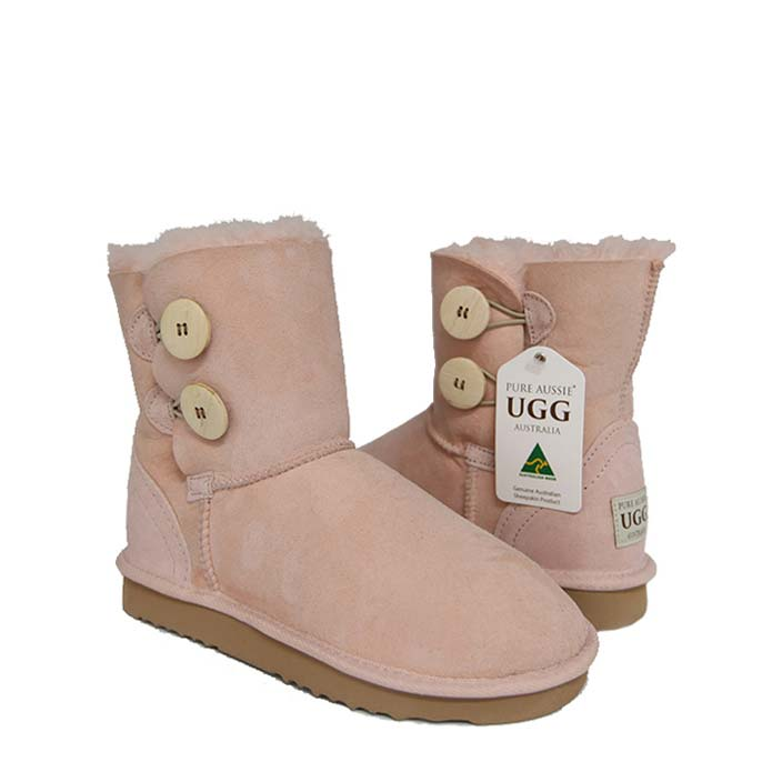 Two Button Ugg Boots - Pastel Pink
