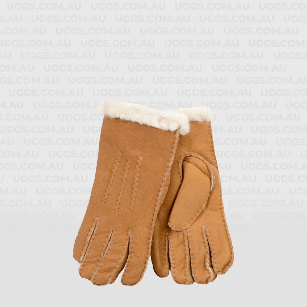 mens sheepskin gloves chestnut rolled down