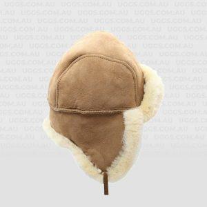 sheeposkin hat with tie chestnut