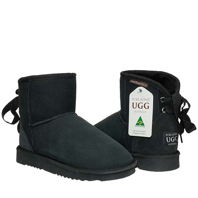 Ankle Ribbon Ugg Boots - Black