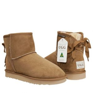 Ankle Ribbon Ugg Boots - Chestnut