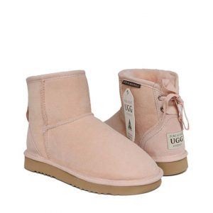 Ankle Ribbon Ugg Boots - Pastel Pink