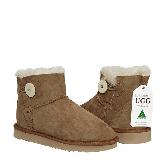 Button Ugg Boots - Chestnut
