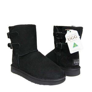 Double Belt Ugg Boots - Black