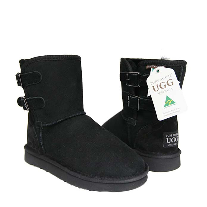 Double Belt Ugg Boots - Black