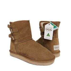 Double Belt Ugg Boots - Chestnut