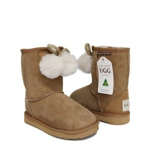 Kids Pom Ugg Boots - Chestnut