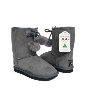 Kids Pom Ugg Boots - Goulden Grey
