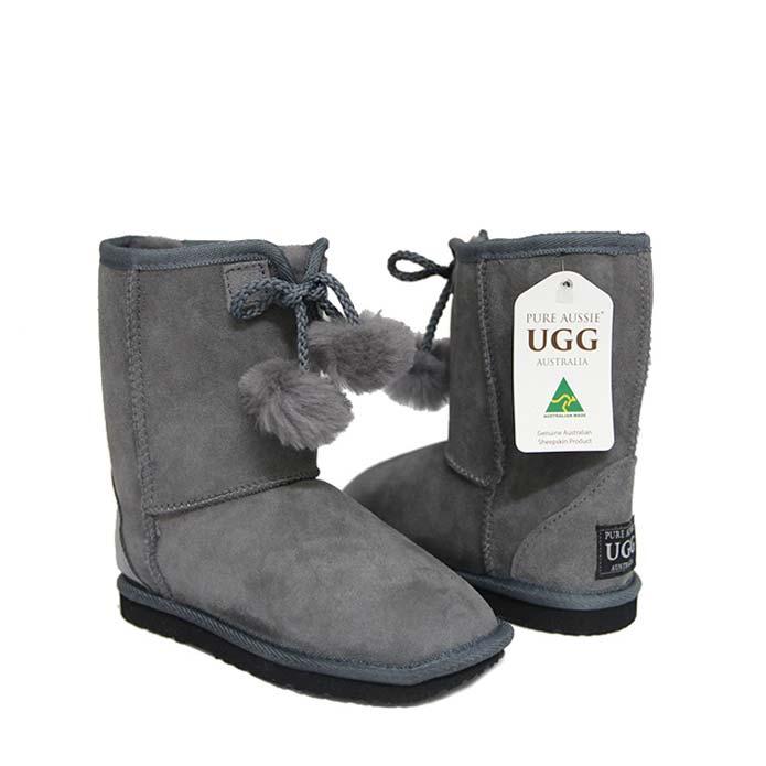 Kids Pom Ugg Boots - Goulden Grey