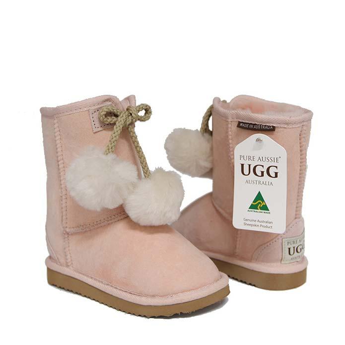 Kids Pom Ugg Boots - Pastel Pink