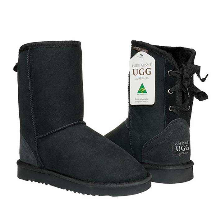 Short Ribbon Ugg Boots - Black