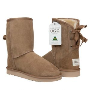 Short Ribbon Ugg Boots - Chestnut