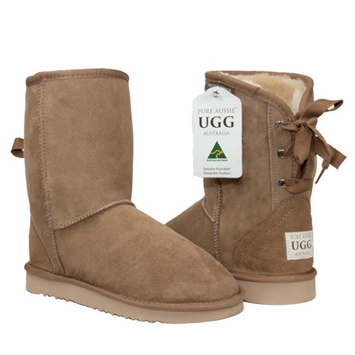 Short Ribbon Ugg Boots - Chestnut