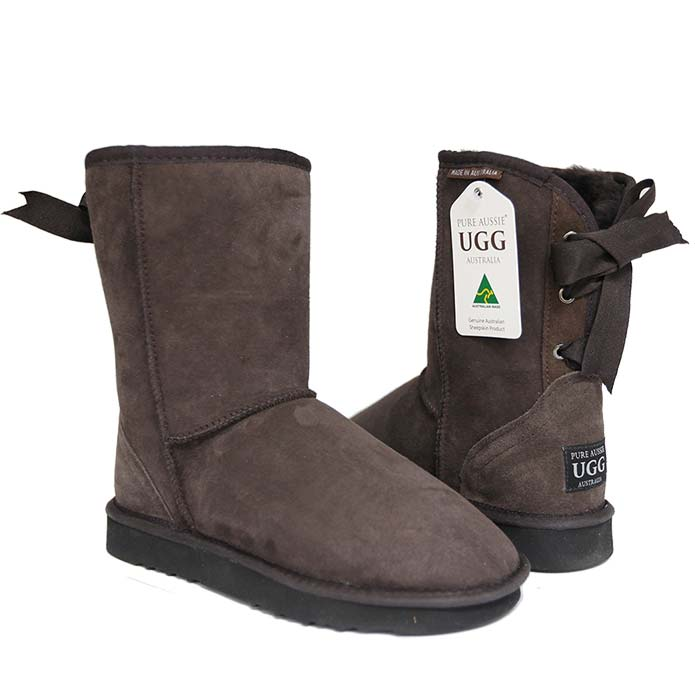 Short Ribbon Ugg Boots - Chocolate
