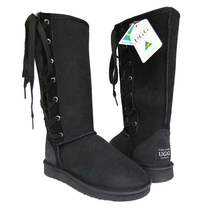 Tall Lace-up Ugg Boots - Black