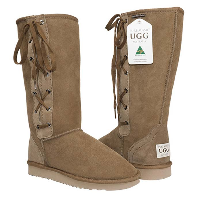Tall Lace-up Ugg Boots - Chestnut