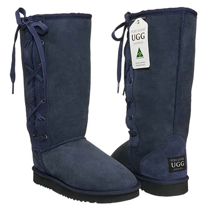 Tall Lace-up Ugg Boots - Navy Blue