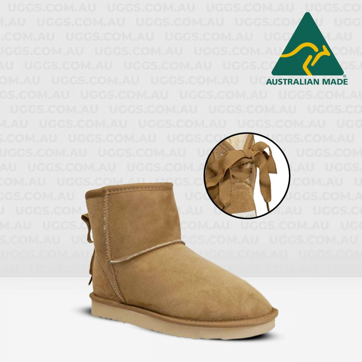 ankle ribbon ugg boots chestnut