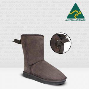 short ribbon ugg boots chocolate