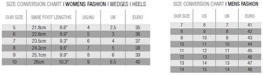 Koalabi Ugg Boots Size Chart