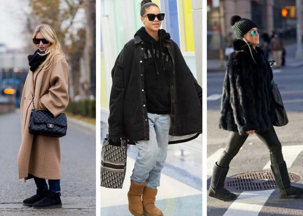classic uggs with oversized outerwear