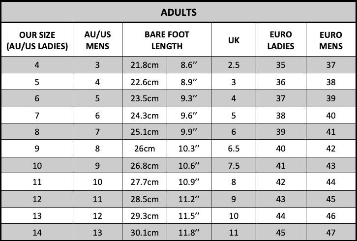 Ugg Boots Size Chart - Adults