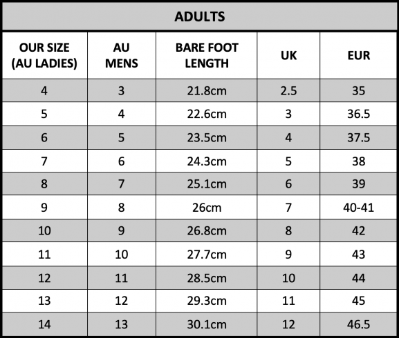 Adult Ugg Boots Size Chart