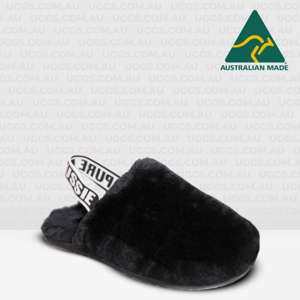 fluff sheepskin scuffs black