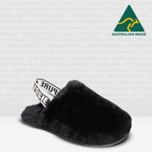 fluff sheepskin scuffs black
