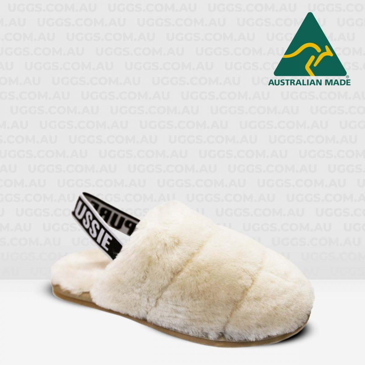 fluff sheepskin scuffs natural