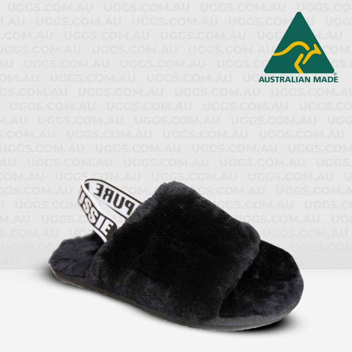 fluff sheepskin slides black