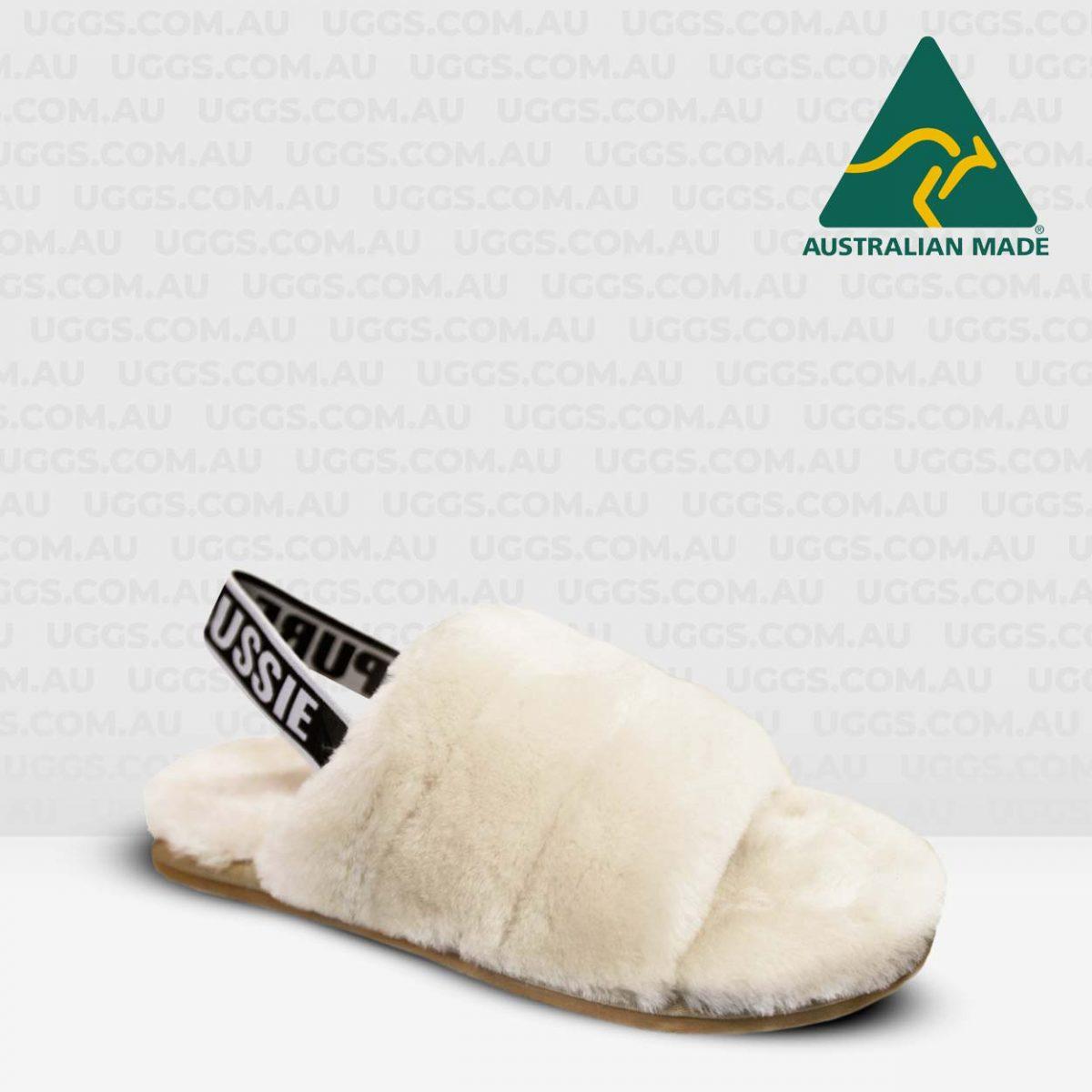 fluff sheepskin slides natural